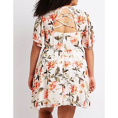 Plus Size Floral Lattice Back Skater Dress