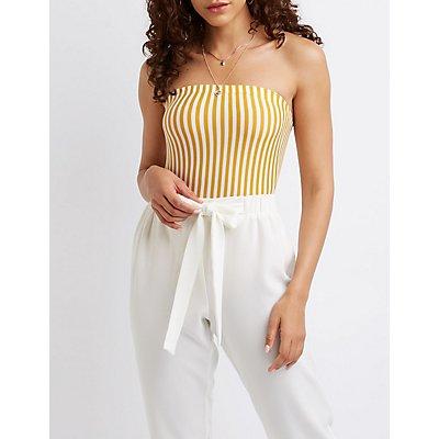 Striped Strapless Bodysuit