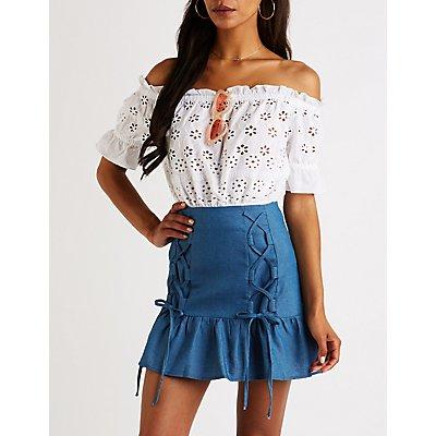 Chambray Lace Up Mini Skirt