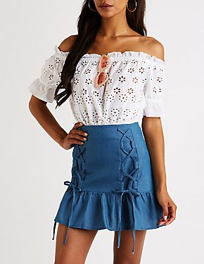 Chambray Lace Up Mini Skirt