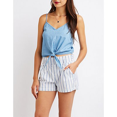 Chambray Tie Front Tank Top