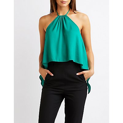 Satin Tie Back Halter Top