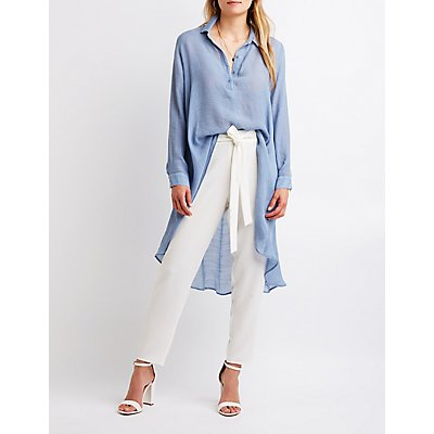 High Low Button Up Tunic