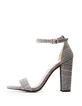 Plaid Ankle Strap Dress Sandals
