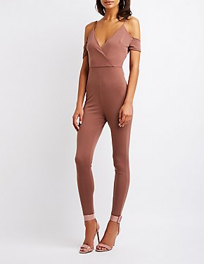 Cold Shoulder Wrap Jumpsuit
