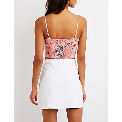 Floral Button Up Crop Top