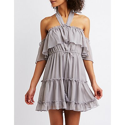 Cold Shoulder Ruffle Tiered Dress