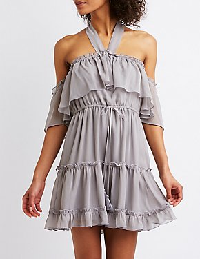 Cold Shoulder Ruffle Tiered Shift Dress