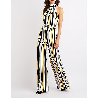 Striped Open Back Jumpsuit