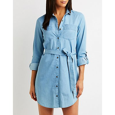 Denim Button Up Shirt Dress