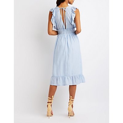 Striped Smocked Midi Dress