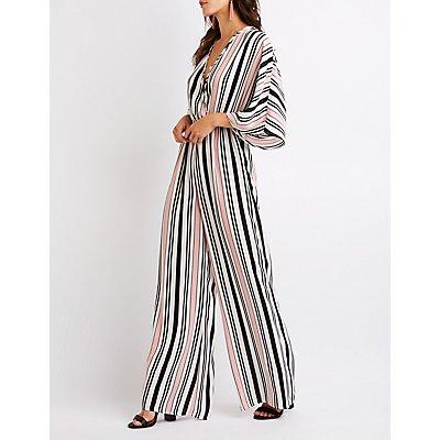 Striped Wrap Jumpsuit