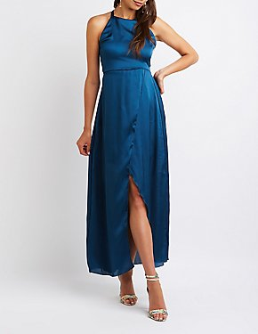 Open Back Wrap Maxi Dress
