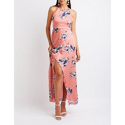 Open Back Wrap Maxi Dress