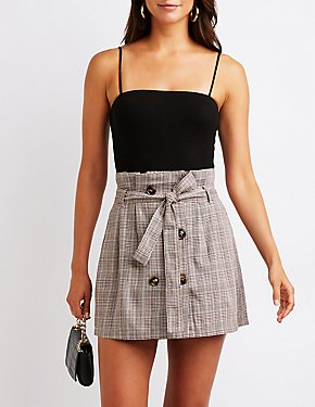 Plaid Button Up Skirt
