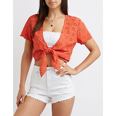 Floral Eyelet Tie-Front Crop Top