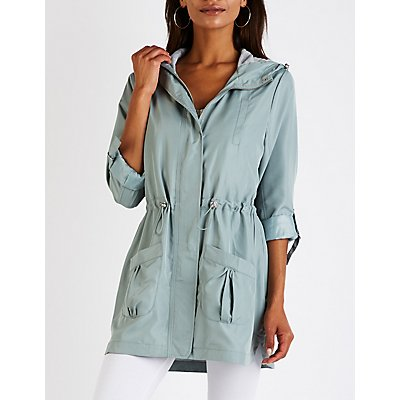 Hooded Cinched Anorak Jacket
