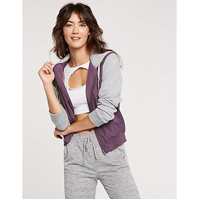 Two-Toned Zip-Up Bomber Jacket