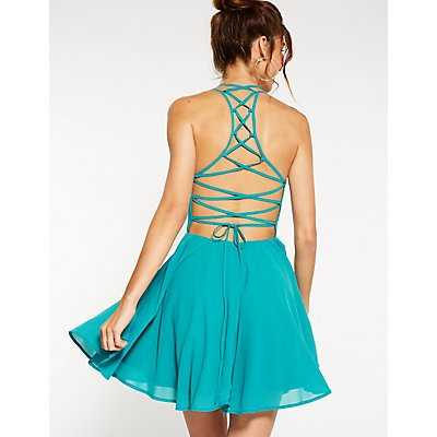 Lace Up Back Skater Dress