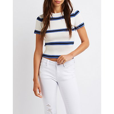 Striped Ribbed Knit Top