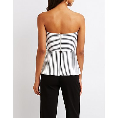 Striped Off The Shoulder PeplumTop