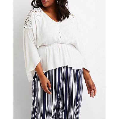 Plus Size Button Up Peplum Top
