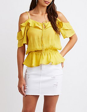 Cold Shoulder Peplum Top