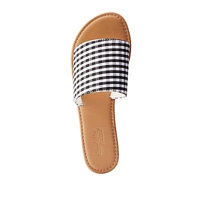 Gingham Slide Sandals
