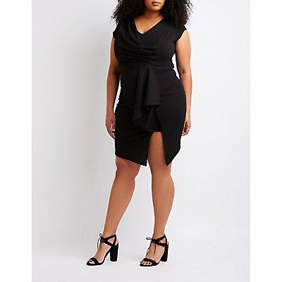 Plus Size Ruffle Wrap Bodycon Dress