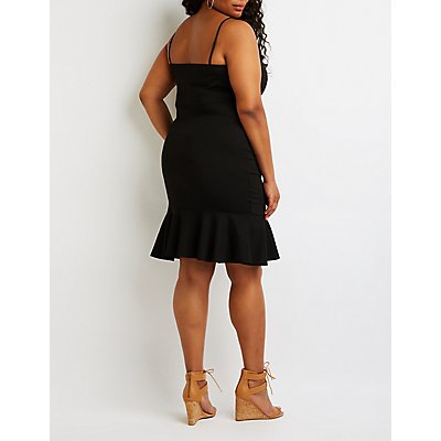 Plus Size Ruffle Trim Bodycon