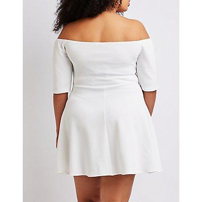 Plus Size Off The Shoulder Skater Dress