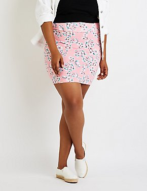 Plus Size Floral Bodycon Mini Skirt