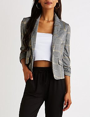 Houndstooth Cropped Blazer