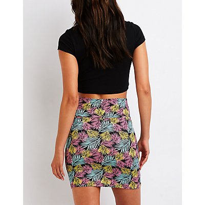 Tropical Bodycon Mini Skirt