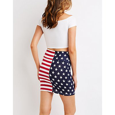 American Flag Bodycon Skirt