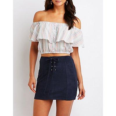 Lace Up Mini Skirt