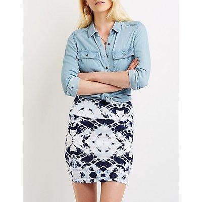 Tie Dye Bodycon Mini Skirt