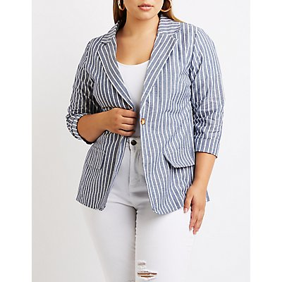 Plus Size Striped Boyfriend Blazer