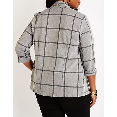Plus Size Plaid Open Front Blazer