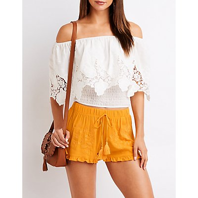 Floral Embroidered Drawstring Shorts