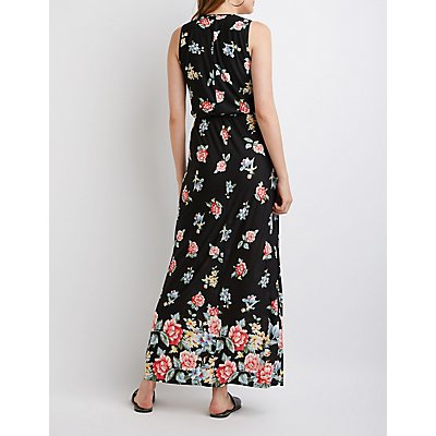 Caged Floral Maxi Dress