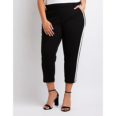 Plus Size Striped Cropped Trousers
