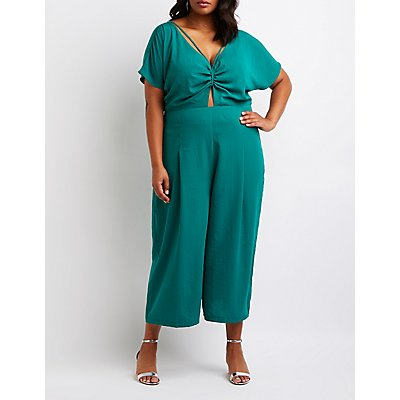Plus Size Cut Out Culotte Jumpsuit