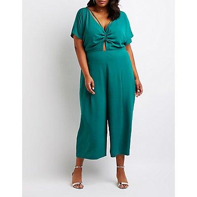 Plus Size Cut Out Culotte Jumpsuit