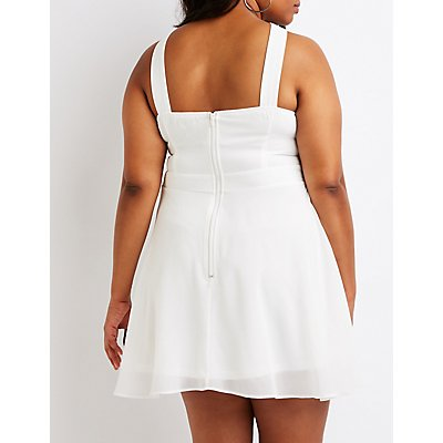 Plus Size Bib Neck Skater Dress