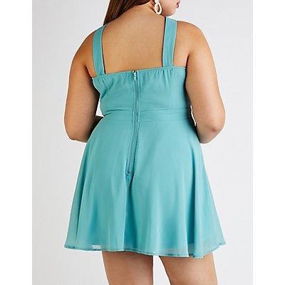 Plus Size Bib Neck Skater Dress