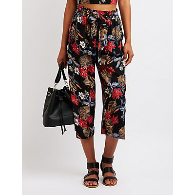 Floral Tie Front Culottes