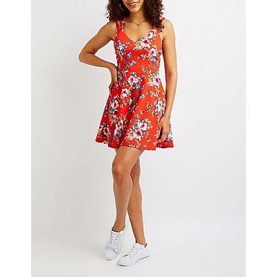 Floral Crisscross Skater Dress