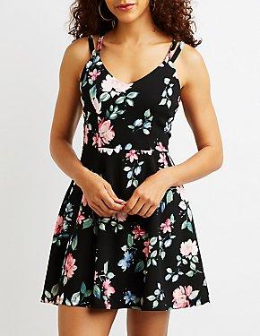 Floral Lattice Back Skater Dress