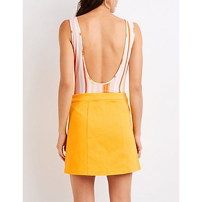 Zip Up Mini Skirt